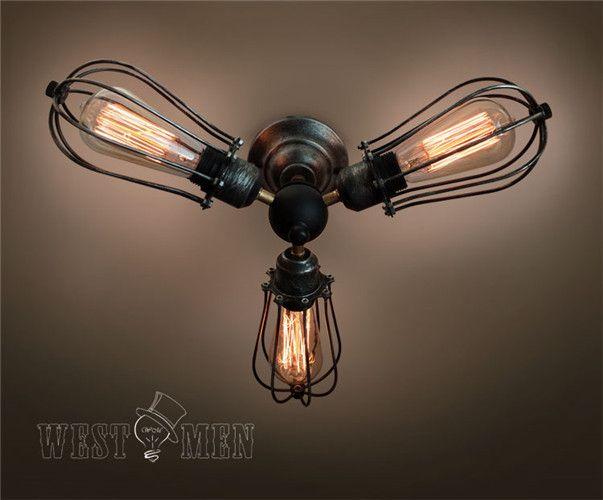 Westmenlights Farmhouse Cage Ceiling Chandelier Rustic 3 lights Edison Bulb Ceiling light TUREL