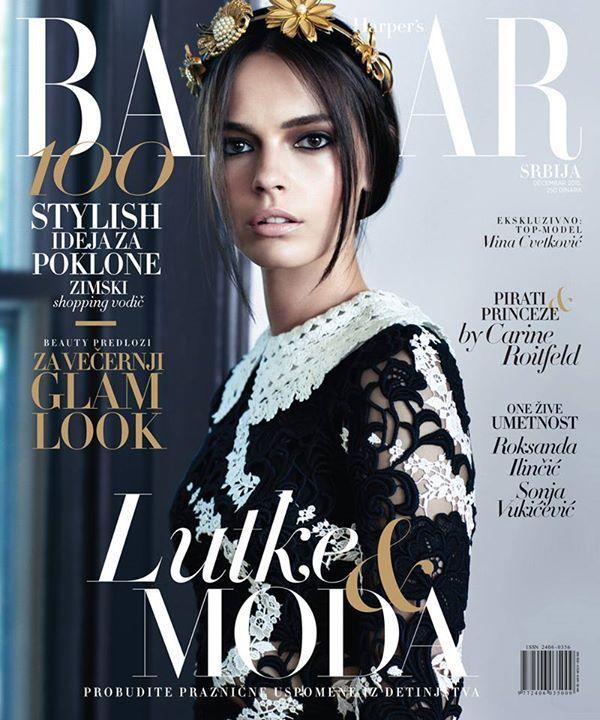 Mina Cvetkovic for Harper's Bazaar Serbia December 2015 by Angelo D'Agostino cover - Dolce & Gabbana