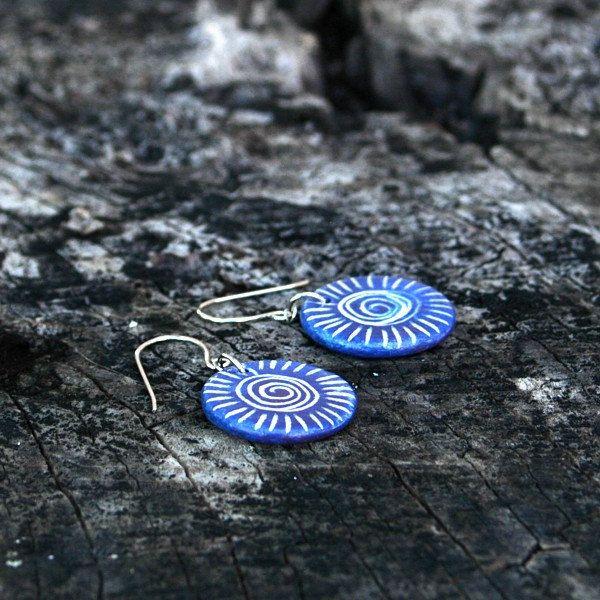 Ceramic jewelry earrings - spiral, striped, rustic jewelry by Brekszer on Etsy