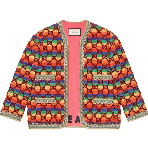 Gucci GG Rainbow Velvet Jacket ($3,500) ❤ liked on Polyvore featuring outerwear, jackets, gucci, red jacket, print jacket, embroidered jackets and red velvet jacket