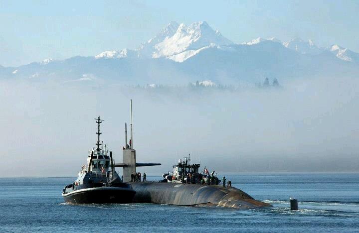 Ohio Class Ballistic Missile Submarine Henry M. Jackson moored in Bangor, Washington Port