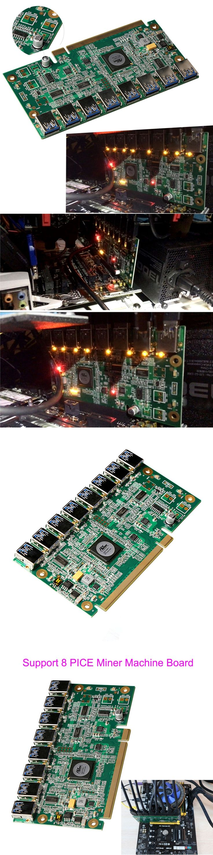 Motherboard PCI Express 1 to 8 Mining Riser Card PCI-E x16 Data Graphics SATA to 8Pin Adapter Card for BTC Miner Machine Board
