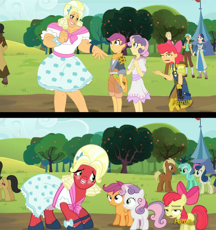 #1000698 - apple bloom, artist:didj, big macintosh, bon bon, brotherhooves social, cherry cola, cherry fizzy, crossdressing, drag, humanized, lyra heartstrings, meadow song, my little mages, orchard blossom, safe, scene interpretation, scootaloo, screencap, spoiler:s05e17, sweetie belle, sweetie drops, trap - Derpibooru - My Little Pony: Friendship is Magic Imageboard