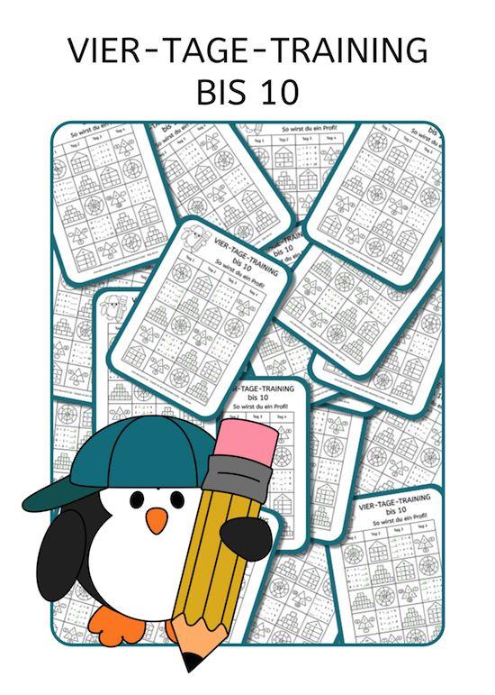 Vier-Tage-Mathe-Training, Zahlenraum bis 10, Arbeitsblatt Mathe bis 10, Dyskalkulie, Dyskalkulietraining, AFS-Methode, Stephany Koujou, Koujou, Arbeitsblatt, kostenlos, Grundschule, Förderschule, rechnen, Mathe, Download, Mathe