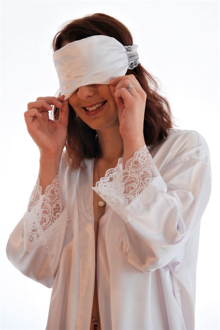 'Lily White' Sleep Mask and Robe Luxury 100gsm satin and Raschel lace - All our quality pieces are locally handcrafted in our studio on the Sunshine Coast Qld ... We have a beautiful range of colours available to suit your taste and style! www.angiejcollection.com.au