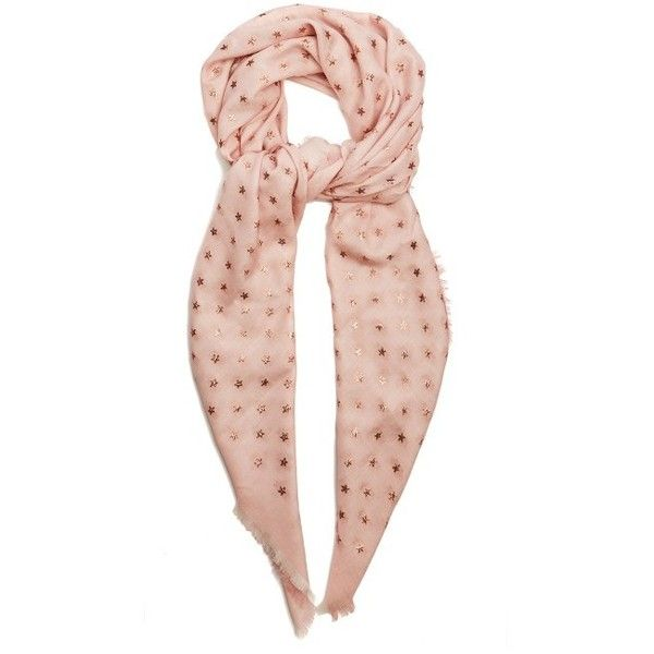 Valentino Star-print wool and silk-blend scarf (1,575 CAD) ❤ liked on Polyvore featuring accessories, scarves, light pink, wool scarves, embroidered shawls, embroidered scarves, metallic shawl and wool shawl