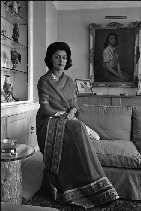 Maharani Gayatri Devi of Jaipur in London in 1965 in a saree https://www.facebook.com/nikhaarfashions