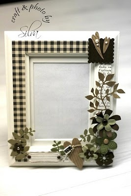 altered frame with paper flowers