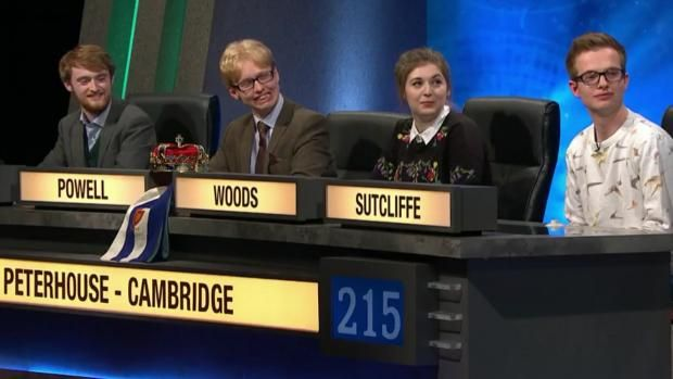 Peterhouse college at Cambridge has won its third University Challenge final in a row after thrashing opponents St John's Oxford in a heated and entertaining show.