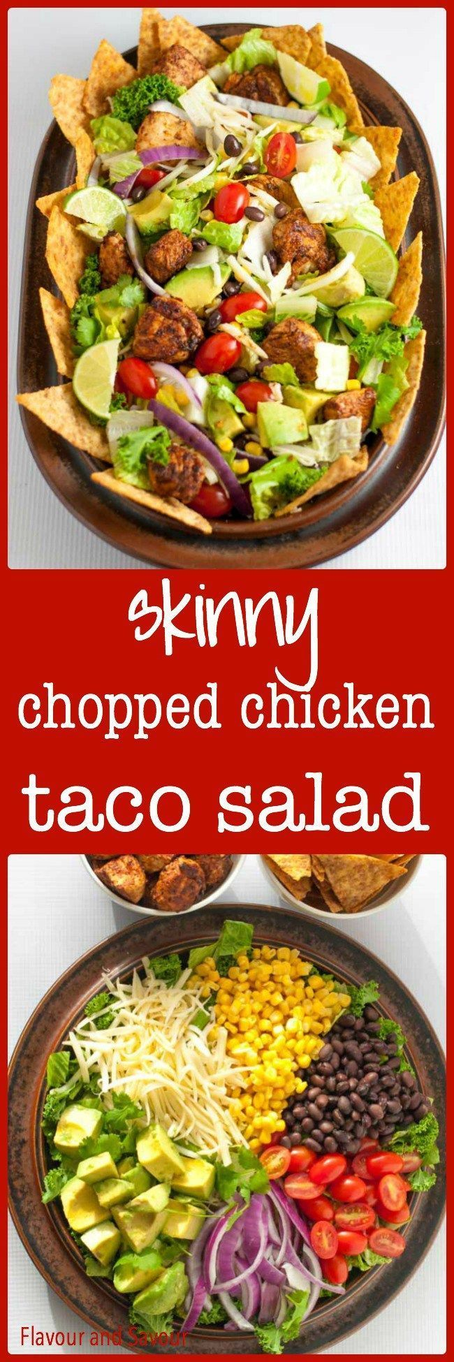 This Skinny Chopped Chicken Taco Salad keeps everyone happy. It's easy to customize for special diets--make it vegetarian or vegan or dive in and enjoy all the fresh vegetables, beans, corn, cheese and taco-seasoned chicken! from Flavour and Savour