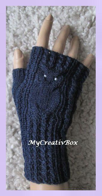 """Armstulpen """"Eulentanz"""", Anleitung von MyCreativBox, gestrickt mit Sockenwolle"""