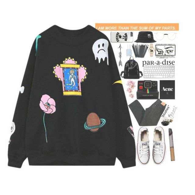 """""""Simply day"""" by parkeunseo on Polyvore featuring Chicnova Fashion, Levi's, Converse, Esque Studio, Polaroid, Essie, Puma and Gucci"""