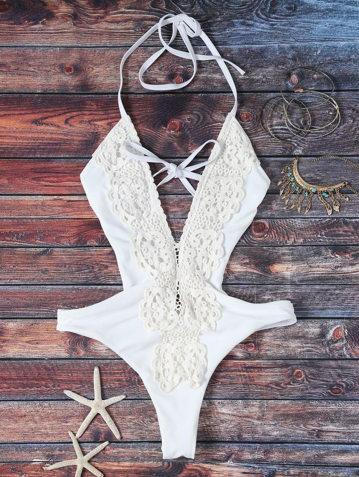 $15.49 High Cut Plunging Neck Lace Swimsuit - WHITE M
