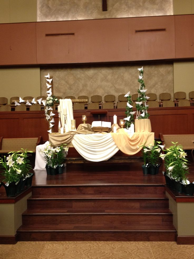 375 best images about church decorating ideas on pinterest for Altar decoration for first holy communion