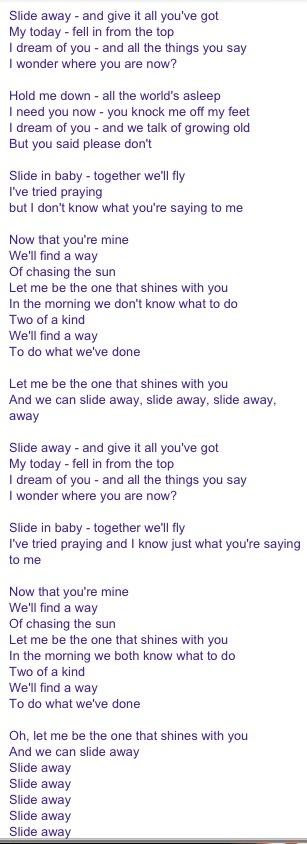 noel gallagher slide away lyrics.