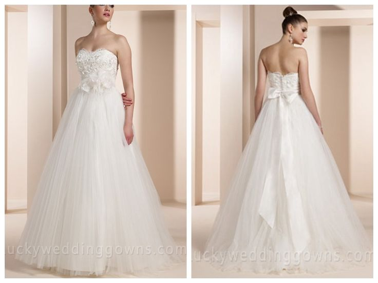 CRINKLED TULLE BALL GOWN WEDDING DRESS WITH 3D FLORAL LACE OVERLAY