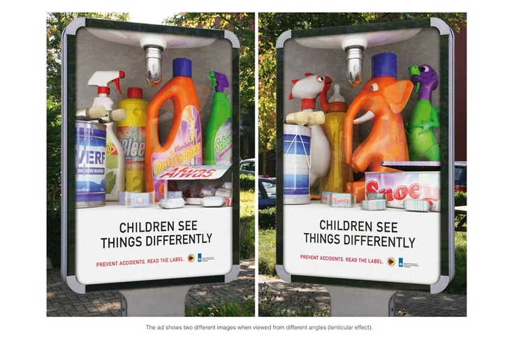 "Lenticular effect ad - ""Children See Things Differently"", Stichting Consument Veiligheid & VWA - by Lemz, Netherland"
