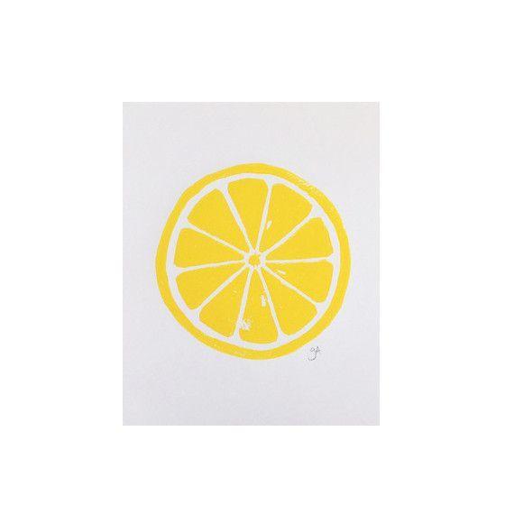 Lemon Linocut print
