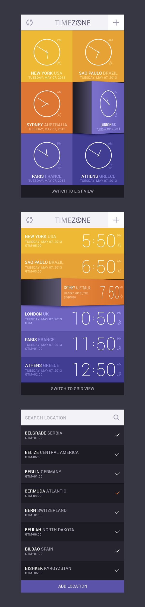 GraphicBurger » Time Zone App UI