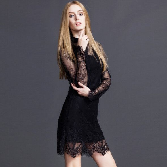 Women's Elegant Slim Fit Solid Color Long Sleeve Lace Outfit