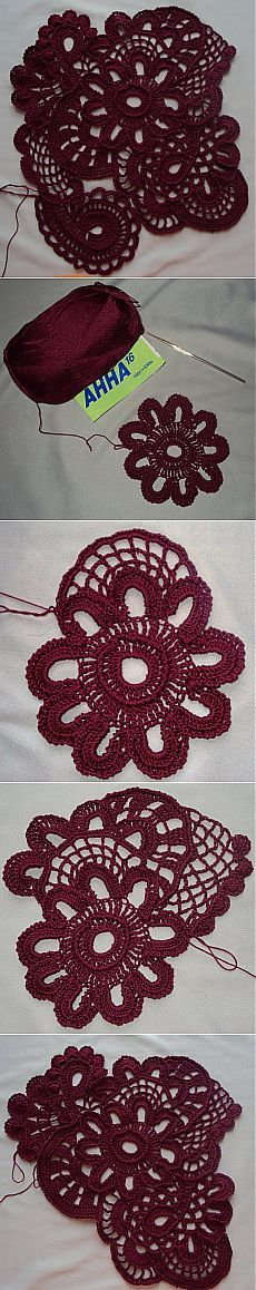 Irish lace. Openwork SKRAMBL of simple elements.