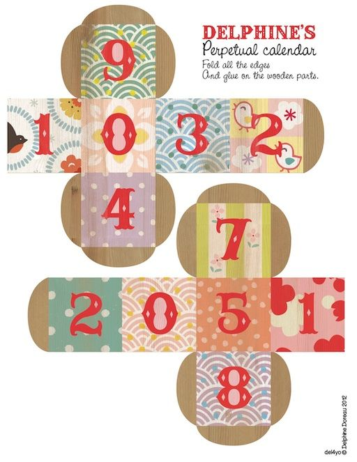 FREE printable perpetual calendar {non dairy diary} folds into two blocks ~ sooo cute!