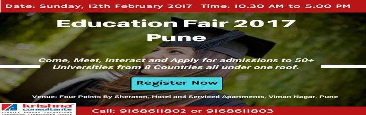 Book Passes/Tickets on-line for Overseas Education Fair 2017 in Pune - To be conducted by Krishna Consultants. Get Event Details, Rating, Timings for Events, Concerts, Live Shows and Parties in MeraEvents.com