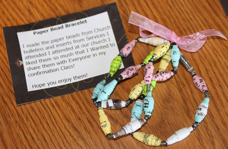 We made bracelets for the confirmation class from church bulletins!!!  Here is the girls'...