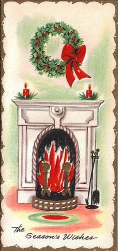 Christmas card: Christmas Cards Holiday, Christmas Cheer, Cards Holiday Pictures, Greeting Cards, Cards Ii, Christmas Greetings, Fireplace, Photo, Vintage Cards