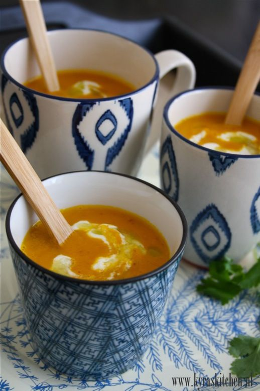 recipe: CREAMY CARROT YAM SOUP with coriander oil & cashew lime cream ...