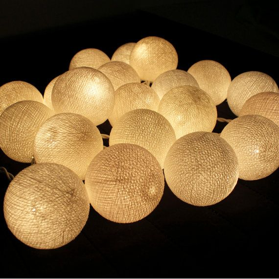 White Cotton Ball String Lights by Pattrawan on Etsy, $12.99