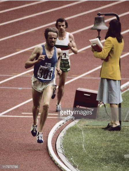 Lasse Viren of Finland leads Carlos Lopes of Portugal during the Men's 10,000 metres on 26th July 1976 during the XXI Olympic Games at the Olympic Stadium in Montreal, Canada.