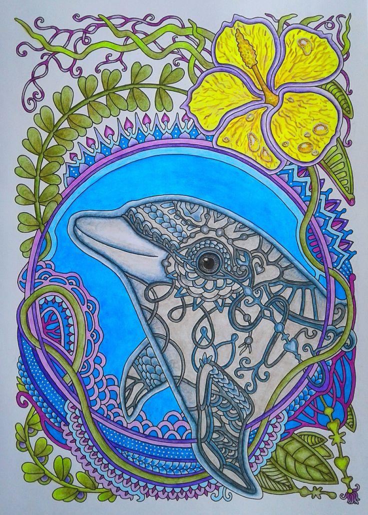 #раскраскаантистресс #яраскрашиваю #раскраскидлявзрослых #ольгаголовешкина #ветеруноситцветы #дельфин