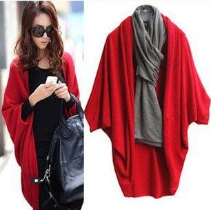 2013 vrouwen mode vleermuis mouw sweater van de cardigan batwing cape jas lange losse gebreide wrap sjaal gehaakte topjes