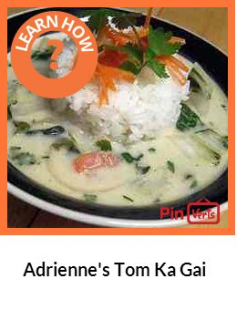 Adriennes Tom Ka Gai - Fragrant, spicy, and absolutely delicious Thai chicken soup. . Add noodles if you like with the cilantro.