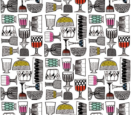 Awesome Finnish-designed retro wall paper. Near your liquor cabinet? | Project Décor