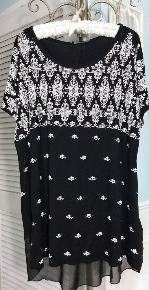 faab24f4328 NEW Plus Size 2X Black White Bling Stud Shirt Boho Tunic Top Blouse   fashion