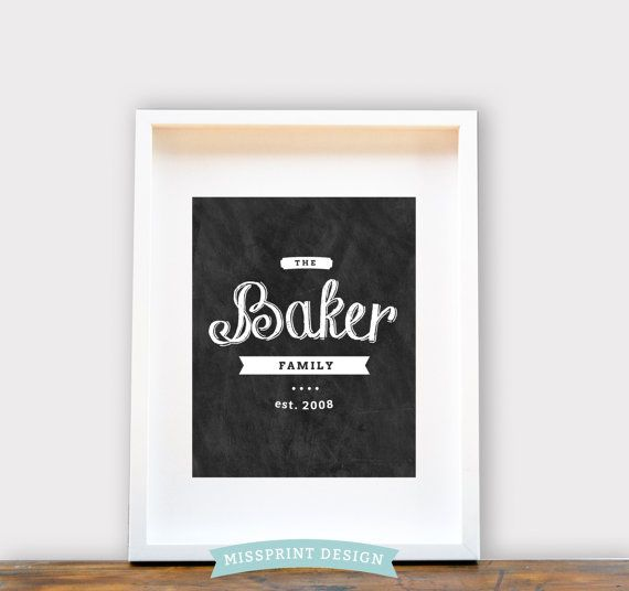 Personalized Family Name  Chalkboard Style by missprintdesign, $18.00