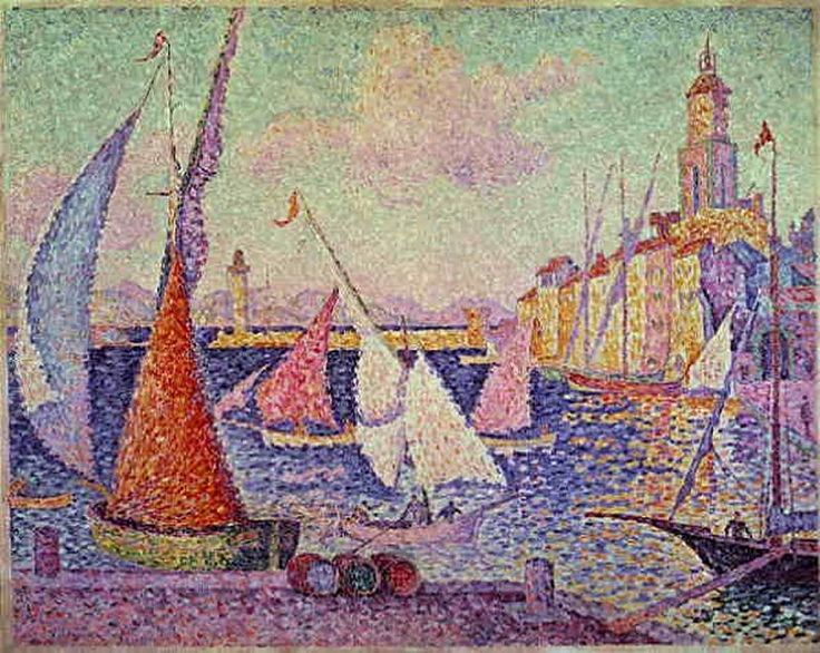 Port St Tropez  Georges Seurat This painting has vibrant colors which Van Gogh used in most of his paintings. Another similarity is his brush strokes are almost identical to Van Gogh's paintings.