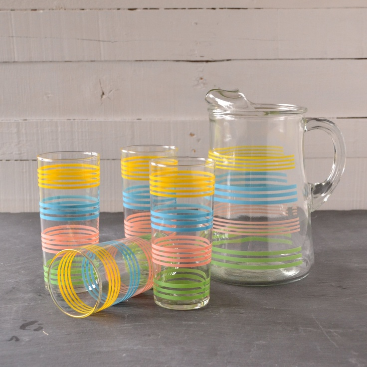 Vintage Pastel Striped Banded Glass Pitcher and Cooler Drinking Glass Set of 5
