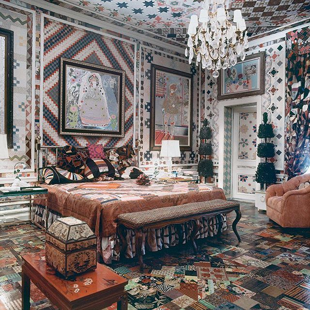 The bedroom of Gloria Vanderbilt (aka Mrs. Wyatt Emory Cooper) includes a potpourri of patchwork patterns on floor walls ceilings bed and drapes. Photo byHorst P. Horst  via NY TIMES STYLE MAGAZINE OFFICIAL INSTAGRAM - Celebrity  Fashion  Haute Couture  Advertising  Culture  Beauty  Editorial Photography  Magazine Covers  Supermodels  Runway Models