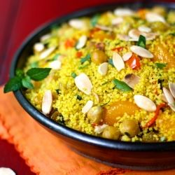 Moroccan Orange Couscous... seems like a long grocery list, but mostly herbs and spices or things that many have on hand in the kitchen.