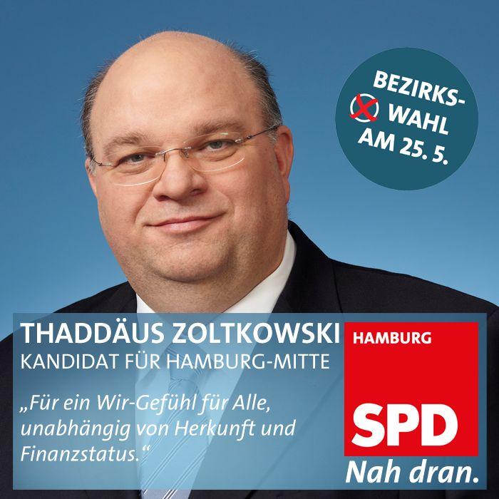 Thaddäus Zoltkowski SPD Wahlkreiskandidat für Hamburg Billstedt
