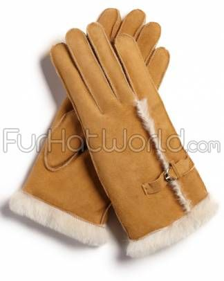 Womens Shearling Sheepskin #Gloves with Buckle - Whiskey