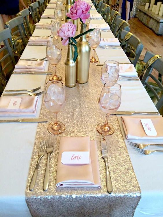 Champagne Sequin Table Runners with White Tablecloth
