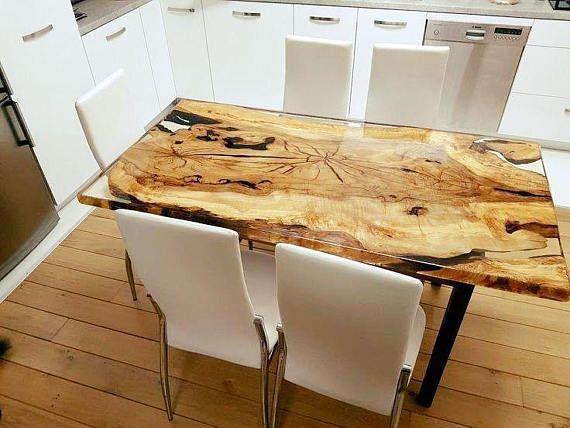 Table A Manger Bois D Olivier Et Resines Resin Table Home Goods