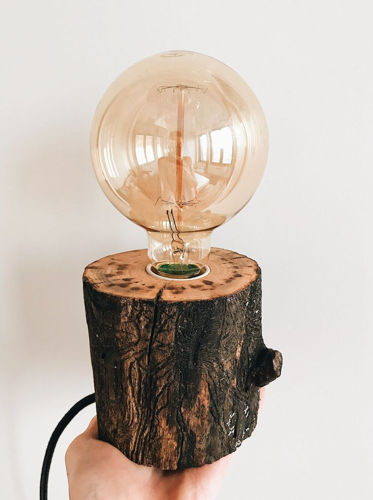 Handmade Edison lamp made from natural eco-friendly materials. Retro design rustic wooden lamp. Wood lamp base. Soft light Desk lamp