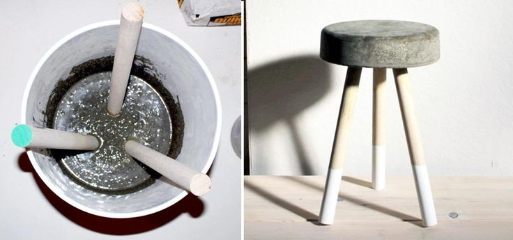 How to Make a Sweet $5 Bar Stool Using Wooden Dowels & Concrete « Interior Design