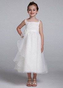 This angelic and timeless chiffon dress is perfect for any flower girl on your special day!  Spaghetti strap bodice features ruffled chiffon detailing.  3D floral accent at waist adds a glamorous touch.  Fully lined. Back zip. Imported. Dry clean.