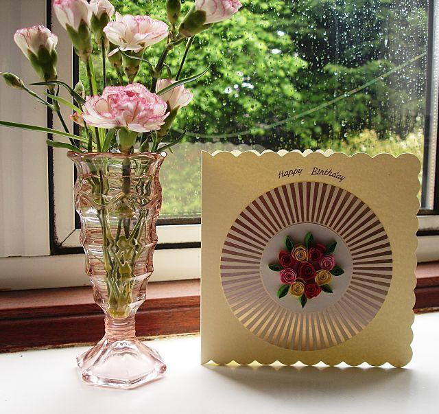 Handmade quilled birthday card